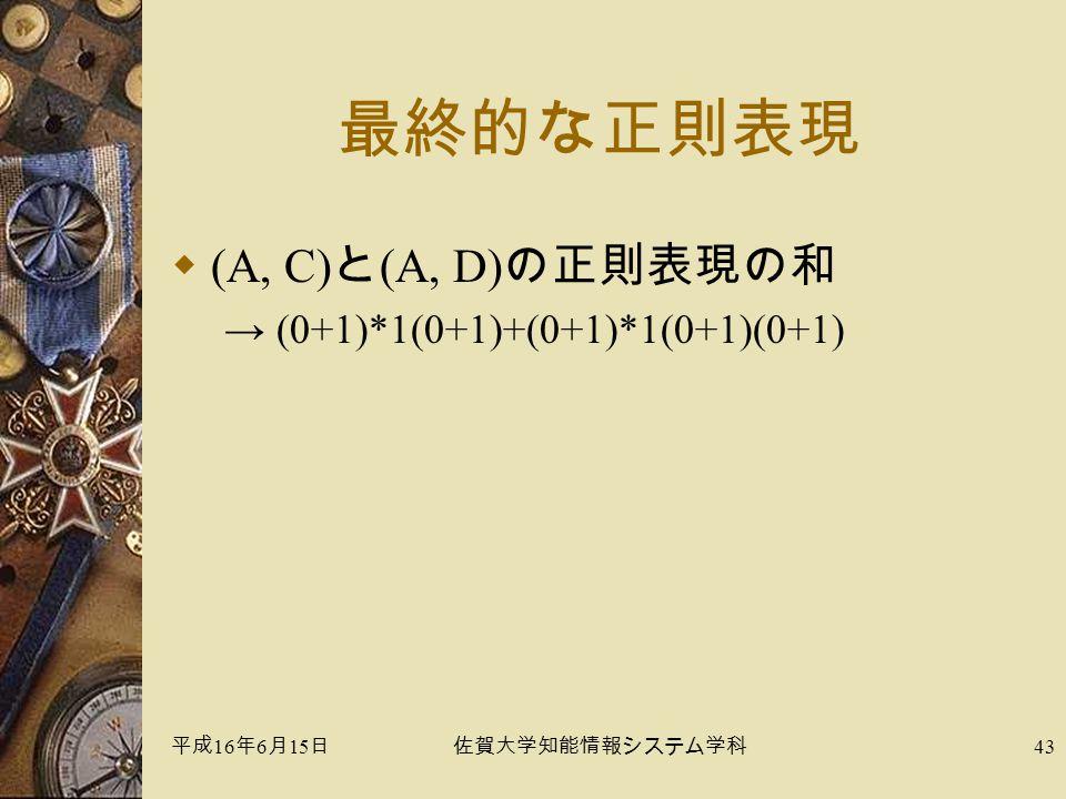平成 16 年 6 月 15 日佐賀大学知能情報システム学科 43 最終的な正則表現  (A, C) と (A, D) の正則表現の和 → (0+1)*1(0+1)+(0+1)*1(0+1)(0+1)
