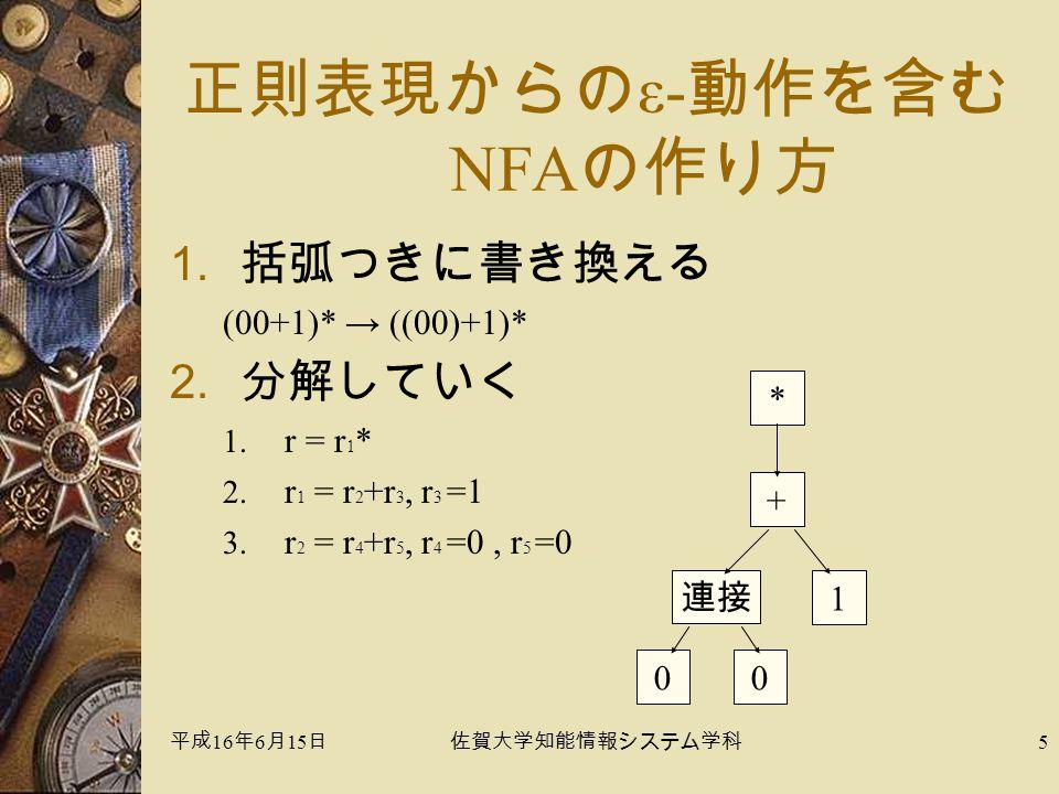 平成 16 年 6 月 15 日佐賀大学知能情報システム学科 5 正則表現からの ε- 動作を含む NFA の作り方 1.括弧つきに書き換える (00+1)* → ((00)+1)* 2.分解していく 1.