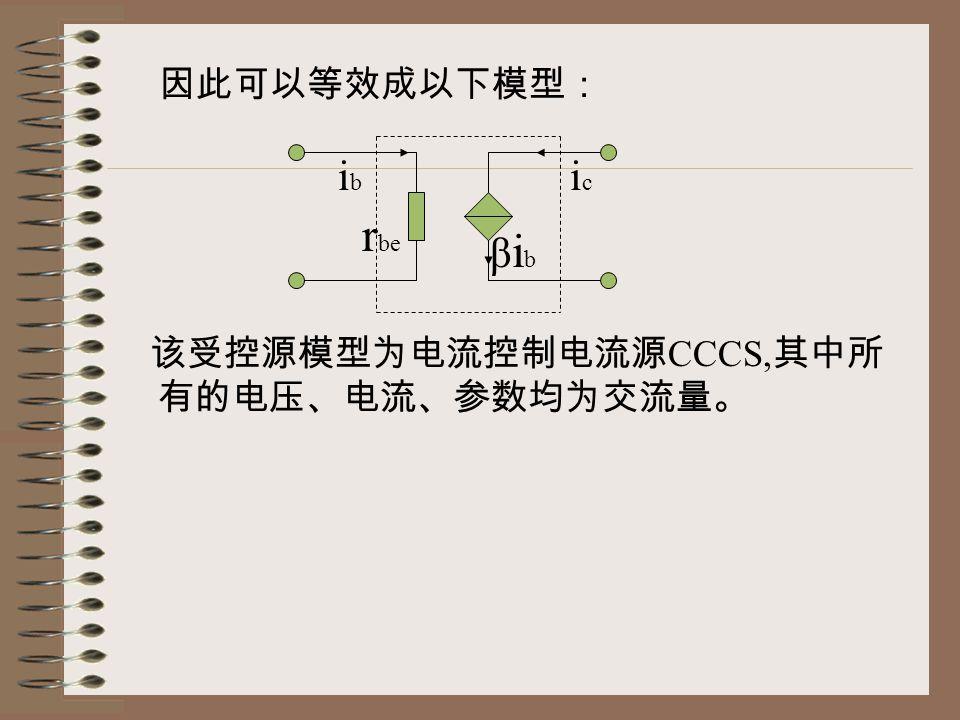 因此可以等效成以下模型: 该受控源模型为电流控制电流源 CCCS, 其中所 有的电压、电流、参数均为交流量。 ibib icic βibβib r be