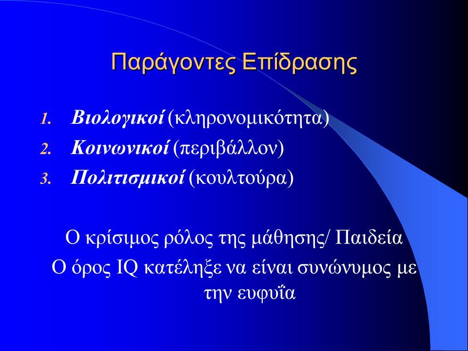 Παράγοντες Επίδρασης 1. Βιολογικοί (κληρονομικότητα) 2. Κοινωνικοί (περιβάλλον) 3. Πολιτισμικοί (κουλτούρα) Ο κρίσιμος ρόλος της μάθησης/ Παιδεία Ο όρ