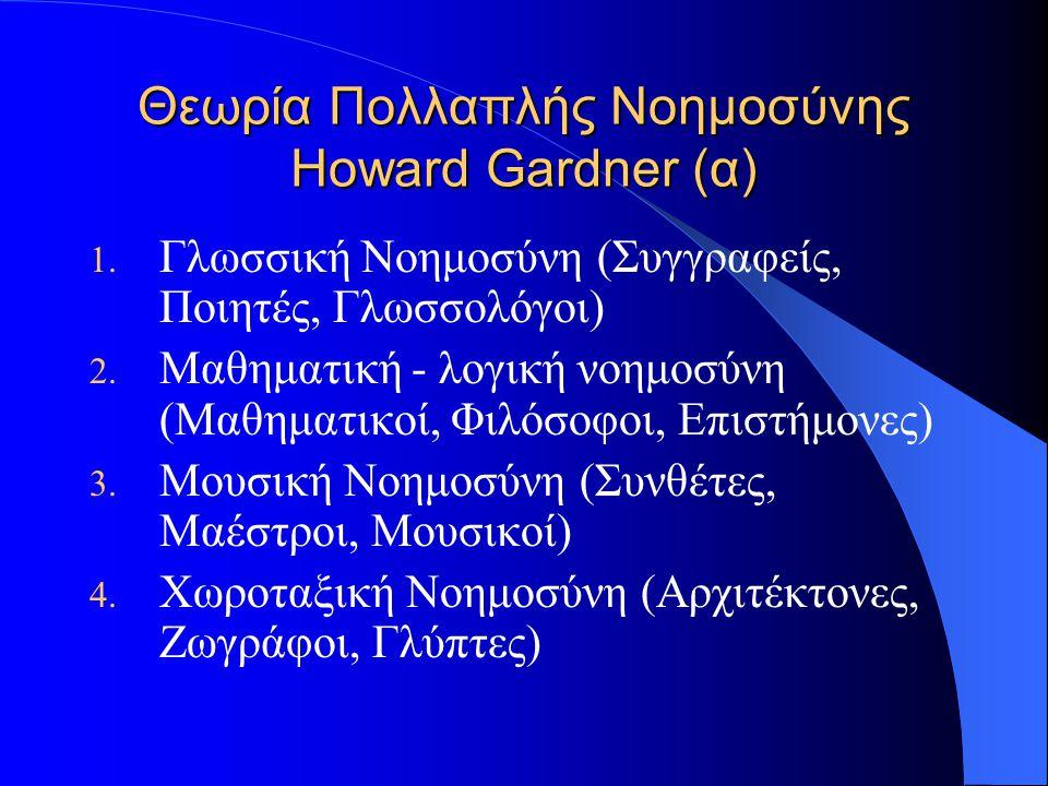 Θεωρία Πολλαπλής Νοημοσύνης Howard Gardner (α) 1. Γλωσσική Νοημοσύνη (Συγγραφείς, Ποιητές, Γλωσσολόγοι) 2. Μαθηματική - λογική νοημοσύνη (Μαθηματικοί,