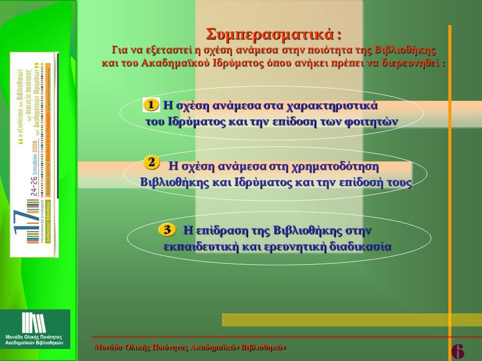 Στόχος της Έρευνας : Αξιολόγηση της Βιβλιοθήκης Μονάδα Ολικής Ποιότητας Ακαδημαϊκών Βιβλιοθηκών 7