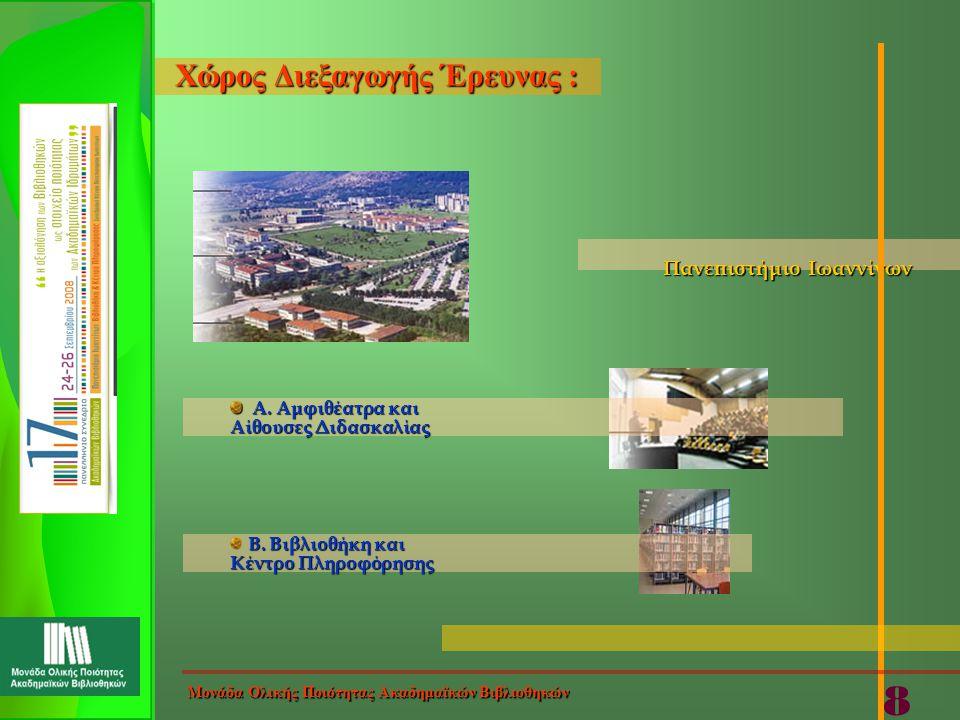 Πανεπιστήμιο Ιωαννίνων Πανεπιστήμιο Ιωαννίνων Α. Αμφιθέατρα και Α. Αμφιθέατρα και Αίθουσες Διδασκαλίας Β. Βιβλιοθήκη και Κέντρο Πληροφόρησης Χώρος Διε