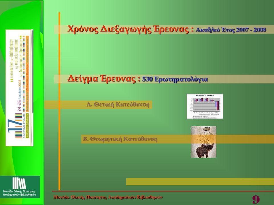 Α. Θετική Κατεύθυνση Β. Θεωρητική Κατεύθυνση Χρόνος Διεξαγωγής Έρευνας : Ακαδ/κό Έτος 2007 - 2008 Δείγμα Έρευνας : 530 Ερωτηματολόγια Μονάδα Ολικής Πο