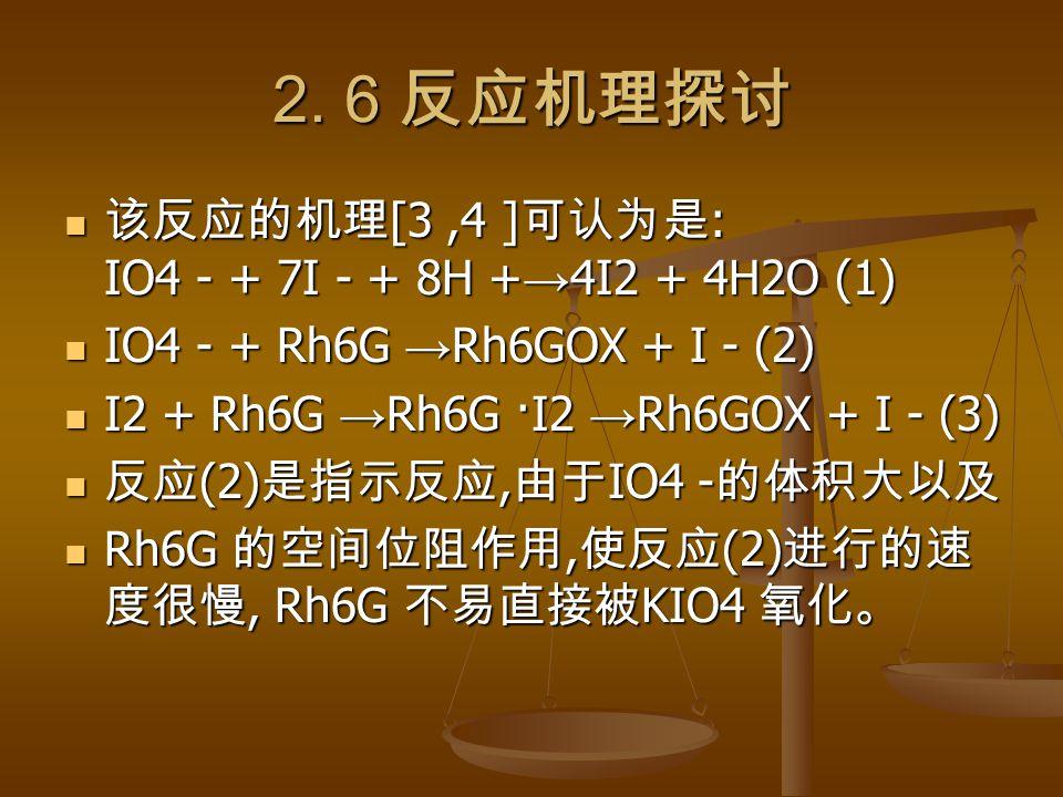 2. 6 反应机理探讨 该反应的机理 [3,4 ] 可认为是 : IO4 - + 7I - + 8H + → 4I2 + 4H2O (1) 该反应的机理 [3,4 ] 可认为是 : IO4 - + 7I - + 8H + → 4I2 + 4H2O (1) IO4 - + Rh6G → Rh6GOX