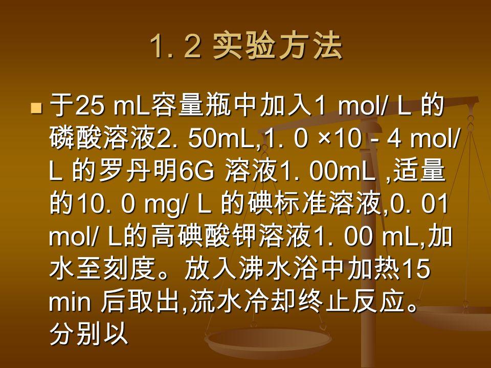1. 2 实验方法 于 25 mL 容量瓶中加入 1 mol/ L 的 磷酸溶液 2. 50mL,1.