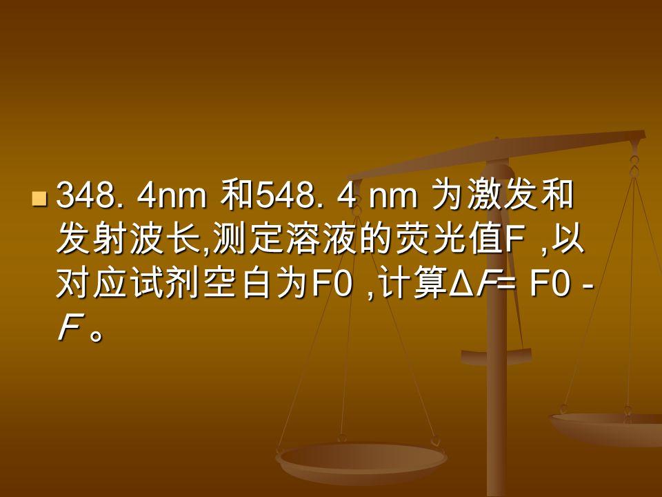 348. 4nm 和 548. 4 nm 为激发和 发射波长, 测定溶液的荧光值 F, 以 对应试剂空白为 F0, 计算 ΔF= F0 - F 。 348.