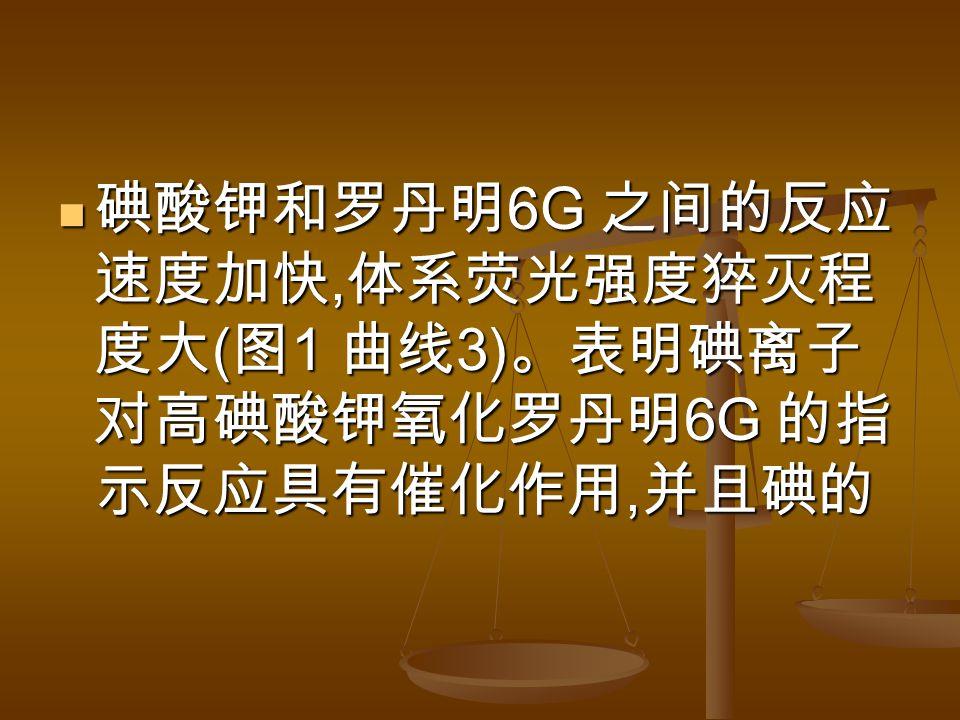 碘酸钾和罗丹明 6G 之间的反应 速度加快, 体系荧光强度猝灭程 度大 ( 图 1 曲线 3) 。表明碘离子 对高碘酸钾氧化罗丹明 6G 的指 示反应具有催化作用, 并且碘的 碘酸钾和罗丹明 6G 之间的反应 速度加快, 体系荧光强度猝灭程 度大 ( 图 1 曲线 3) 。表明碘离子 对高碘酸钾氧化罗丹明 6G 的指 示反应具有催化作用, 并且碘的