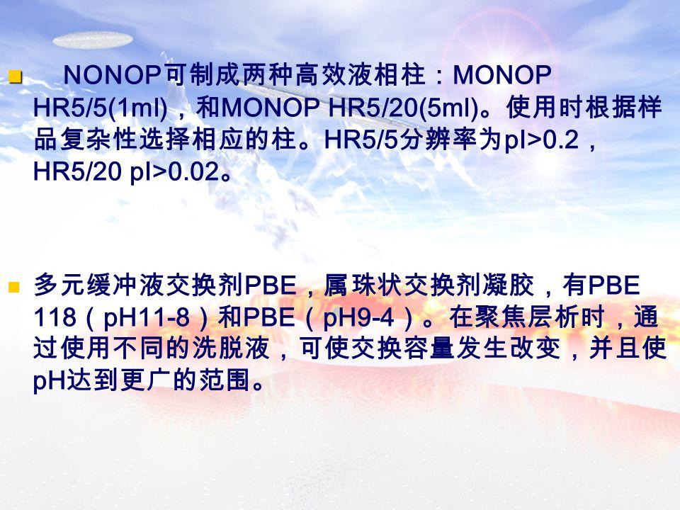 NONOP 可制成两种高效液相柱: MONOP HR5/5(1ml) ,和 MONOP HR5/20(5ml) 。使用时根据样 品复杂性选择相应的柱。 HR5/5 分辨率为 pI>0.2 , HR5/20 pI>0.02 。 多元缓冲液交换剂 PBE ,属珠状交换剂凝胶,有 PBE 118 ( pH11-8 )和 PBE ( pH9-4 )。在聚焦层析时,通 过使用不同的洗脱液,可使交换容量发生改变,并且使 pH 达到更广的范围。