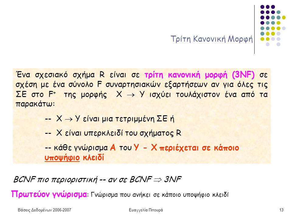 Βάσεις Δεδομένων 2006-2007Ευαγγελία Πιτουρά13 Τρίτη Κανονική Μορφή Ένα σχεσιακό σχήμα R είναι σε τρίτη κανονική μορφή (3ΝF) σε σχέση με ένα σύνολο F συναρτησιακών εξαρτήσεων αν για όλες τις ΣΕ στο F + της μορφής X  Y ισχύει τουλάχιστον ένα από τα παρακάτω: -- X  Y είναι μια τετριμμένη ΣΕ ή -- X είναι υπερκλειδί του σχήματος R -- κάθε γνώρισμα Α του Υ - Χ περιέχεται σε κάποιο υποψήφιο κλειδί BCNF πιο περιοριστική -- αν σε BCNF  3NF Πρωτεύον γνώρισμα : Γνώρισμα που ανήκει σε κάποιο υποψήφιο κλειδί