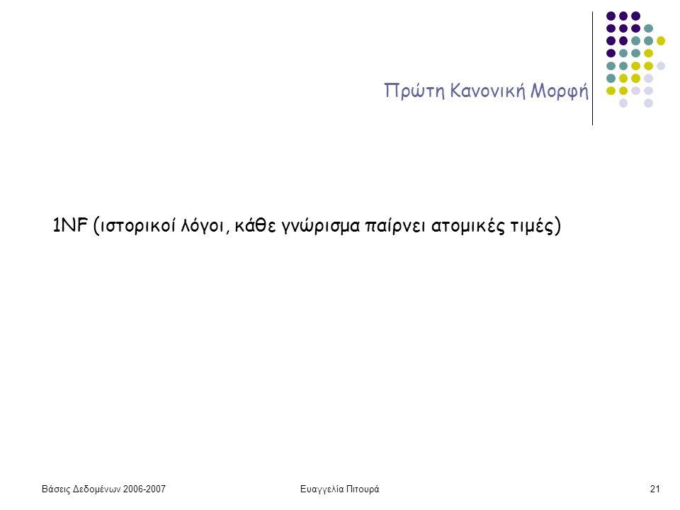 Βάσεις Δεδομένων 2006-2007Ευαγγελία Πιτουρά21 Πρώτη Κανονική Μορφή 1NF (ιστορικοί λόγοι, κάθε γνώρισμα παίρνει ατομικές τιμές)