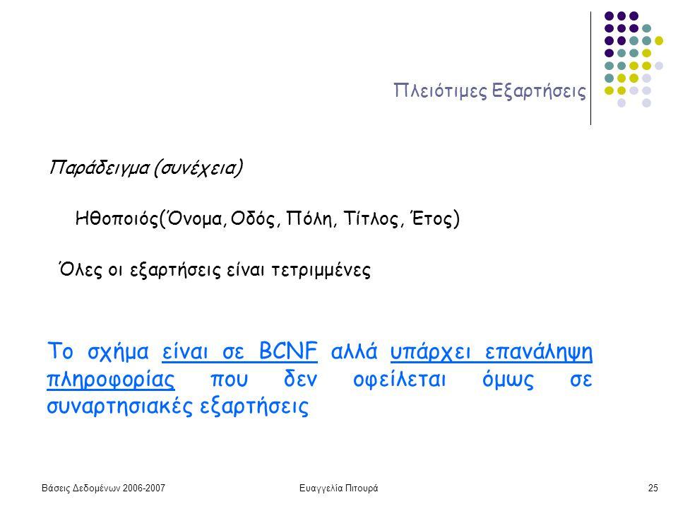 Βάσεις Δεδομένων 2006-2007Ευαγγελία Πιτουρά25 Πλειότιμες Εξαρτήσεις Παράδειγμα (συνέχεια) Ηθοποιός(Όνομα, Οδός, Πόλη, Τίτλος, Έτος) Το σχήμα είναι σε BCNF αλλά υπάρχει επανάληψη πληροφορίας που δεν οφείλεται όμως σε συναρτησιακές εξαρτήσεις Όλες οι εξαρτήσεις είναι τετριμμένες