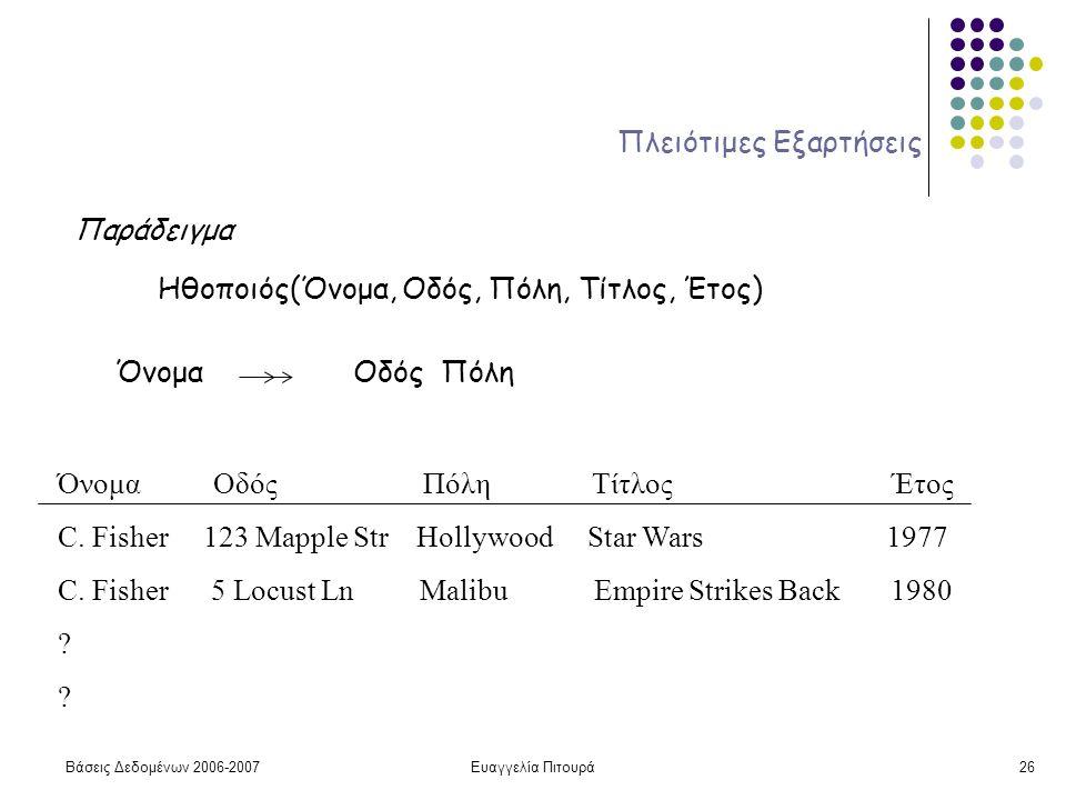 Βάσεις Δεδομένων 2006-2007Ευαγγελία Πιτουρά26 Πλειότιμες Εξαρτήσεις Παράδειγμα Ηθοποιός(Όνομα, Οδός, Πόλη, Τίτλος, Έτος) Όνομα Οδός Πόλη Όνομα Οδός Πόλη Τίτλος Έτος C.