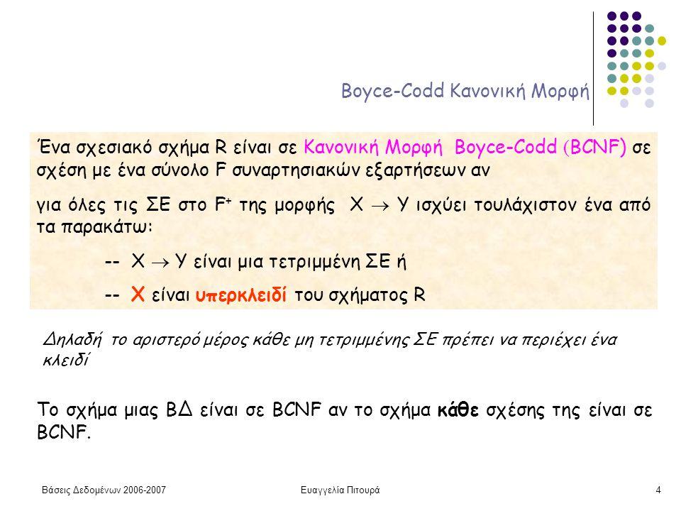 Βάσεις Δεδομένων 2006-2007Ευαγγελία Πιτουρά4 Boyce-Codd Κανονική Μορφή Ένα σχεσιακό σχήμα R είναι σε Κανονική Μορφή Boyce-Codd ( BCNF) σε σχέση με ένα σύνολο F συναρτησιακών εξαρτήσεων αν για όλες τις ΣΕ στο F + της μορφής X  Y ισχύει τουλάχιστον ένα από τα παρακάτω: -- X  Y είναι μια τετριμμένη ΣΕ ή -- X είναι υπερκλειδί του σχήματος R Δηλαδή το αριστερό μέρος κάθε μη τετριμμένης ΣΕ πρέπει να περιέχει ένα κλειδί Το σχήμα μιας ΒΔ είναι σε BCNF αν το σχήμα κάθε σχέσης της είναι σε BCNF.