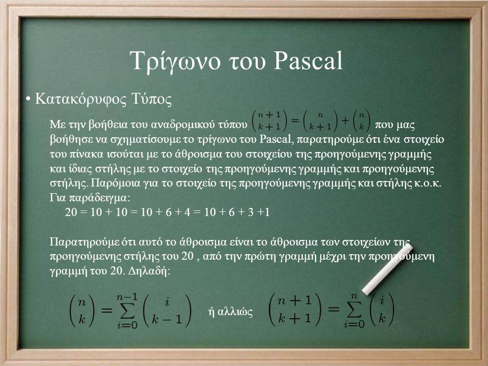 Τρίγωνο του Pascal Με την βοήθεια του αναδρομικού τύπου που μας βοήθησε να σχηματίσουμε το τρίγωνο του Pascal, παρατηρούμε ότι ένα στοιχείο του πίνακα