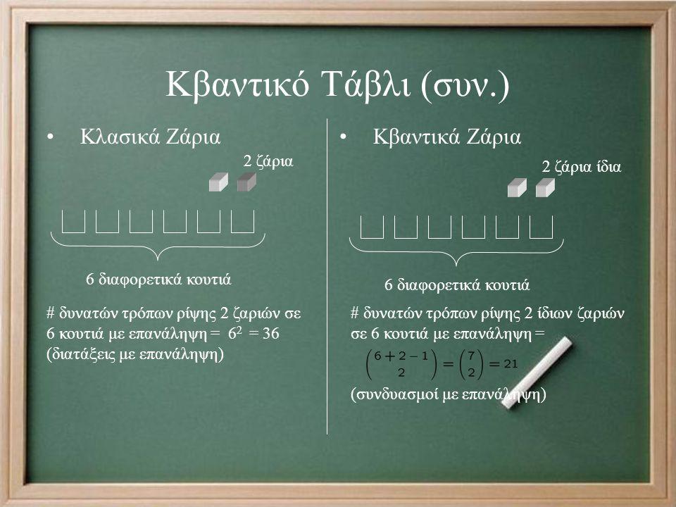 Κβαντικό Τάβλι (συν.) Κλασικά ΖάριαΚβαντικά Ζάρια 2 ζάρια 6 διαφορετικά κουτιά 2 ζάρια ίδια 6 διαφορετικά κουτιά # δυνατών τρόπων ρίψης 2 ζαριών σε 6