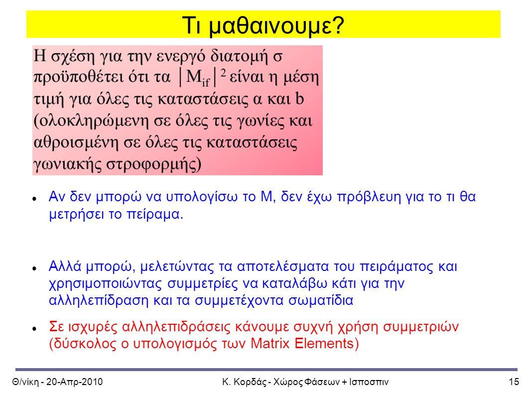 Θ/νίκη - 20-Απρ-2010Κ. Κορδάς - Χώρος Φάσεων + Ισποσπιν15 Τι μαθαινουμε.