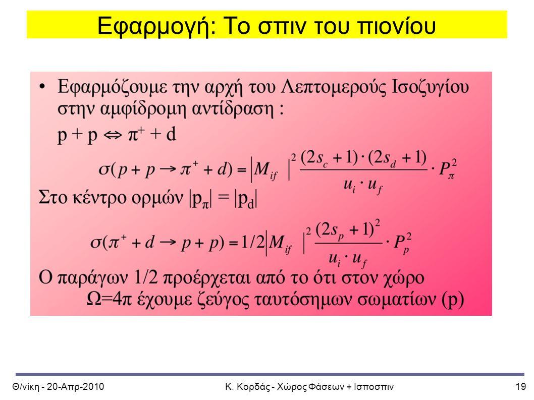 Θ/νίκη - 20-Απρ-2010Κ. Κορδάς - Χώρος Φάσεων + Ισποσπιν19 Εφαρμογή: Το σπιν του πιονίου