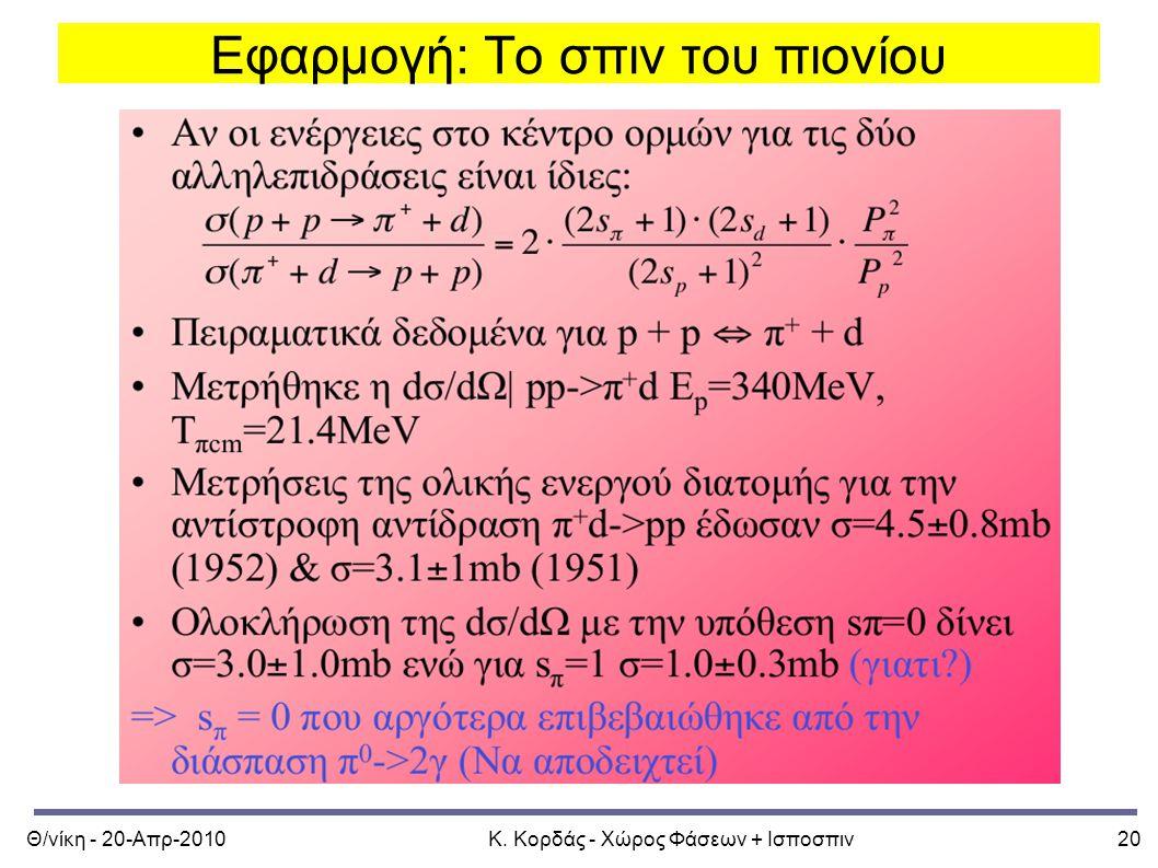 Θ/νίκη - 20-Απρ-2010Κ. Κορδάς - Χώρος Φάσεων + Ισποσπιν20 Εφαρμογή: Το σπιν του πιονίου