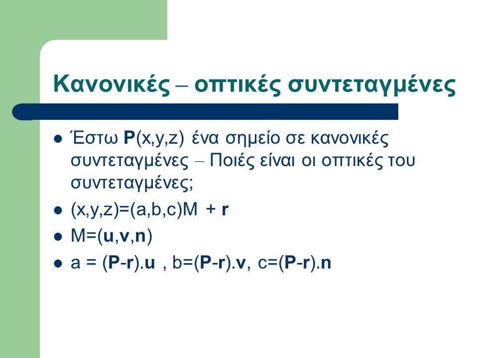 Κανονικές – οπτικές συντεταγμένες Έστω P(x,y,z) ένα σημείο σε κανονικές συντεταγμένες – Ποιές είναι οι οπτικές του συντεταγμένες; (x,y,z)=(a,b,c)M + r M=(u,v,n) a = (P-r).u, b=(P-r).v, c=(P-r).n