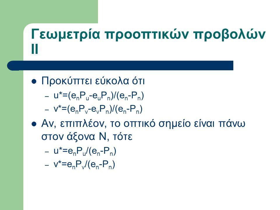Γεωμετρία προοπτικών προβολών ΙΙ Προκύπτει εύκολα ότι – u*=(e n P u -e u P n )/(e n -P n ) – v*=(e n P v -e v P n )/(e n -P n ) Αν, επιπλέον, το οπτικό σημείο είναι πάνω στον άξονα Ν, τότε – u*=e n P u /(e n -P n ) – v*=e n P v /(e n -P n )