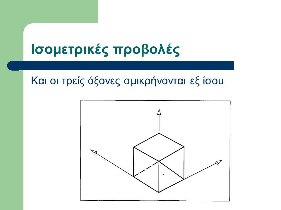 Ισομετρικές προβολές Και οι τρείς άξονες σμικρήνονται εξ ίσου