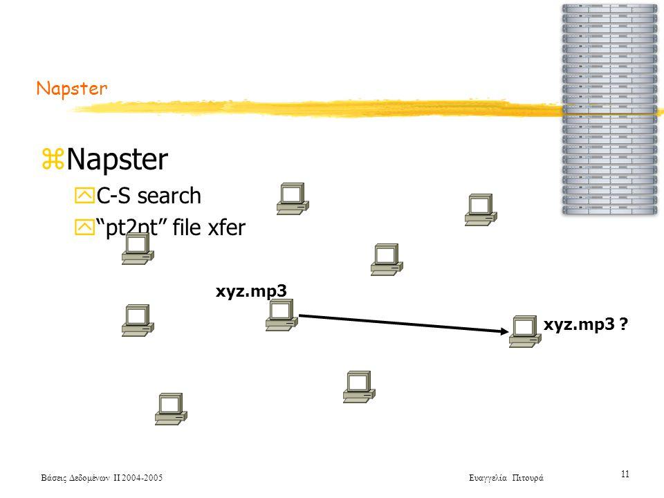 Βάσεις Δεδομένων ΙΙ 2004-2005 Ευαγγελία Πιτουρά 11 zNapster yC-S search y pt2pt file xfer xyz.mp3 .