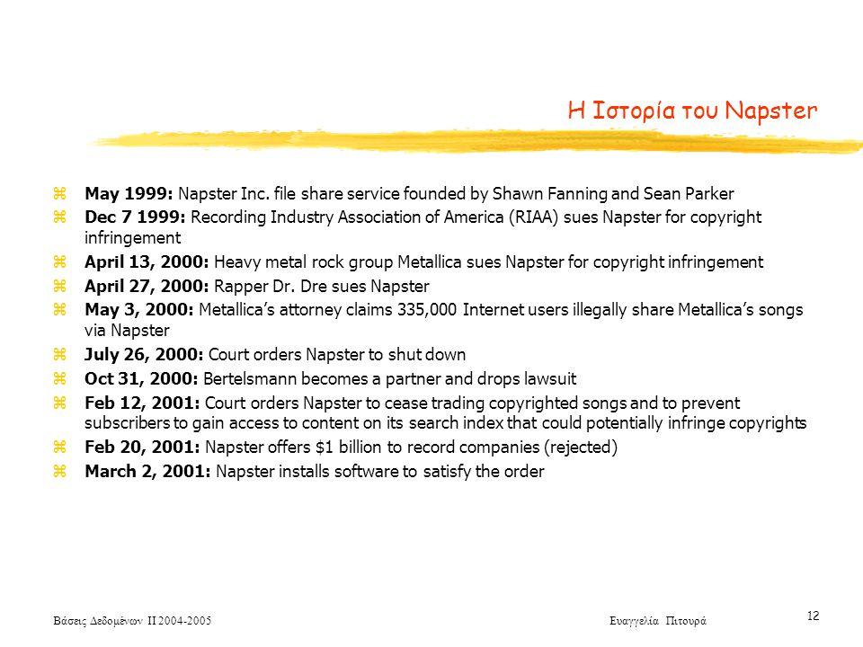 Βάσεις Δεδομένων ΙΙ 2004-2005 Ευαγγελία Πιτουρά 12 Η Ιστορία του Napster zMay 1999: Napster Inc.