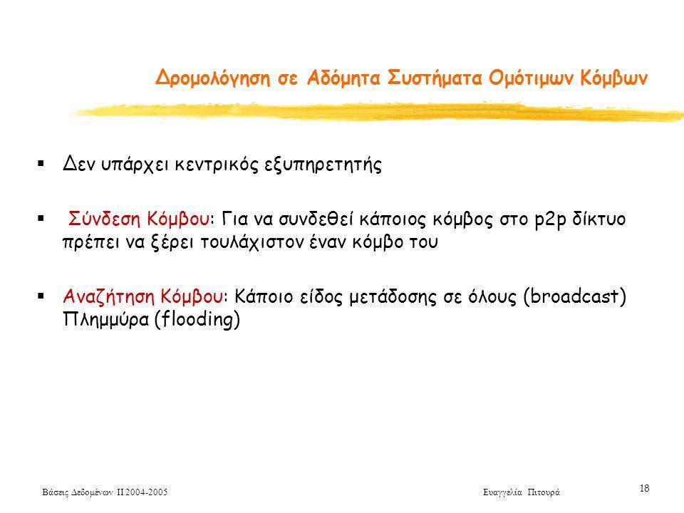 Βάσεις Δεδομένων ΙΙ 2004-2005 Ευαγγελία Πιτουρά 18  Δεν υπάρχει κεντρικός εξυπηρετητής  Σύνδεση Κόμβου: Για να συνδεθεί κάποιος κόμβος στο p2p δίκτυο πρέπει να ξέρει τουλάχιστον έναν κόμβο του  Αναζήτηση Κόμβου: Κάποιο είδος μετάδοσης σε όλους (broadcast) Πλημμύρα (flooding) Δρομολόγηση σε Αδόμητα Συστήματα Ομότιμων Κόμβων