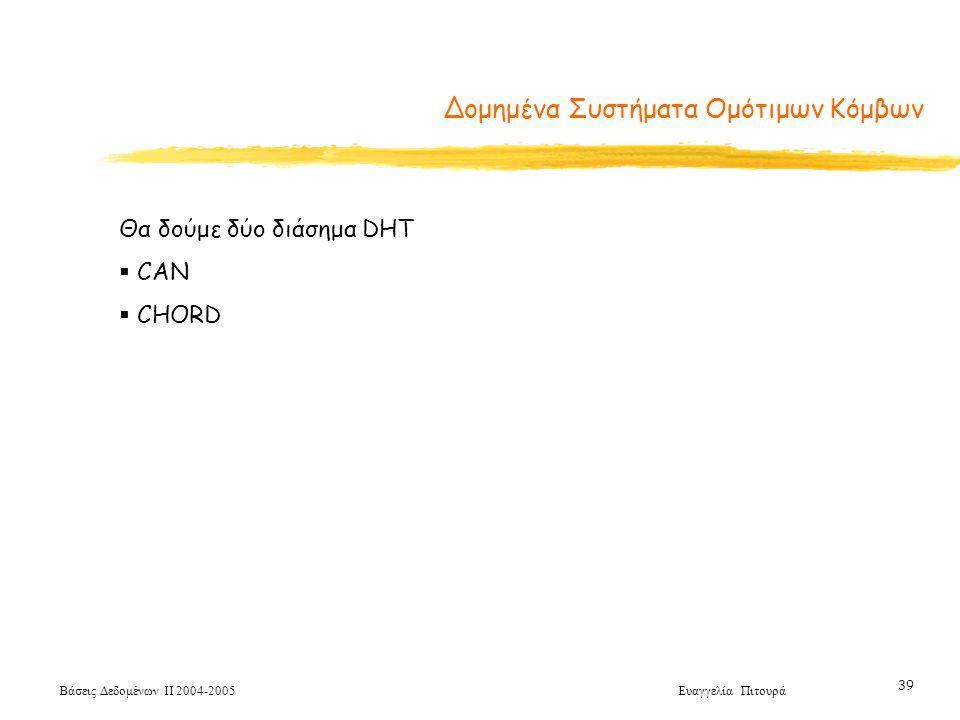 Βάσεις Δεδομένων ΙΙ 2004-2005 Ευαγγελία Πιτουρά 39 Θα δούμε δύο διάσημα DHT  CAN  CHORD Δομημένα Συστήματα Ομότιμων Κόμβων