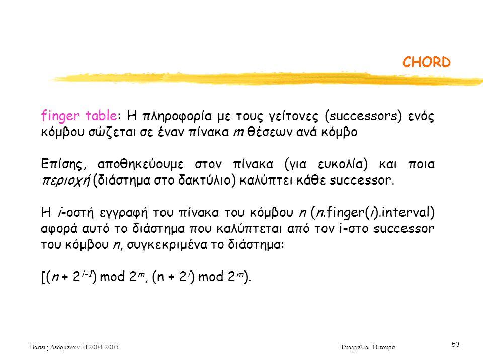 Βάσεις Δεδομένων ΙΙ 2004-2005 Ευαγγελία Πιτουρά 53 CHORD finger table: Η πληροφορία με τους γείτονες (successors) ενός κόμβου σώζεται σε έναν πίνακα m θέσεων ανά κόμβο Επίσης, αποθηκεύουμε στον πίνακα (για ευκολία) και ποια περιοχή (διάστημα στο δακτύλιο) καλύπτει κάθε successor.