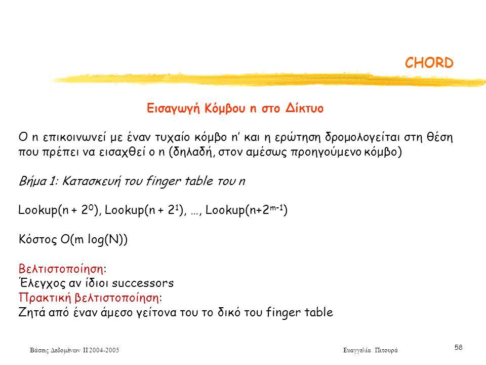Βάσεις Δεδομένων ΙΙ 2004-2005 Ευαγγελία Πιτουρά 58 CHORD Εισαγωγή Κόμβου n στο Δίκτυο O n επικοινωνεί με έναν τυχαίο κόμβο n' και η ερώτηση δρομολογείται στη θέση που πρέπει να εισαχθεί ο n (δηλαδή, στον αμέσως προηγούμενο κόμβο) Βήμα 1: Κατασκευή του finger table του n Lookup(n + 2 0 ), Lookup(n + 2 1 ), …, Lookup(n+2 m-1 ) Κόστος Ο(m log(N)) Βελτιστοποίηση: Έλεγχος αν ίδιοι successors Πρακτική βελτιστοποίηση: Ζητά από έναν άμεσο γείτονα του το δικό του finger table