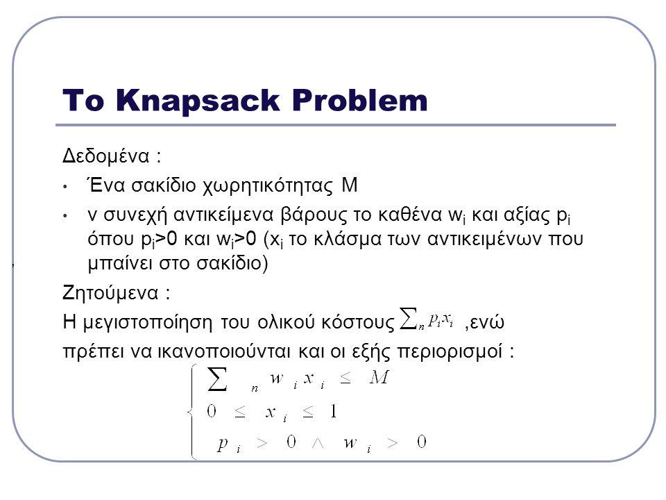 Το Knapsack Problem Δεδομένα : Ένα σακίδιο χωρητικότητας Μ ν συνεχή αντικείμενα βάρους το καθένα w i και αξίας p i όπου p i >0 και w i >0 (x i το κλάσ