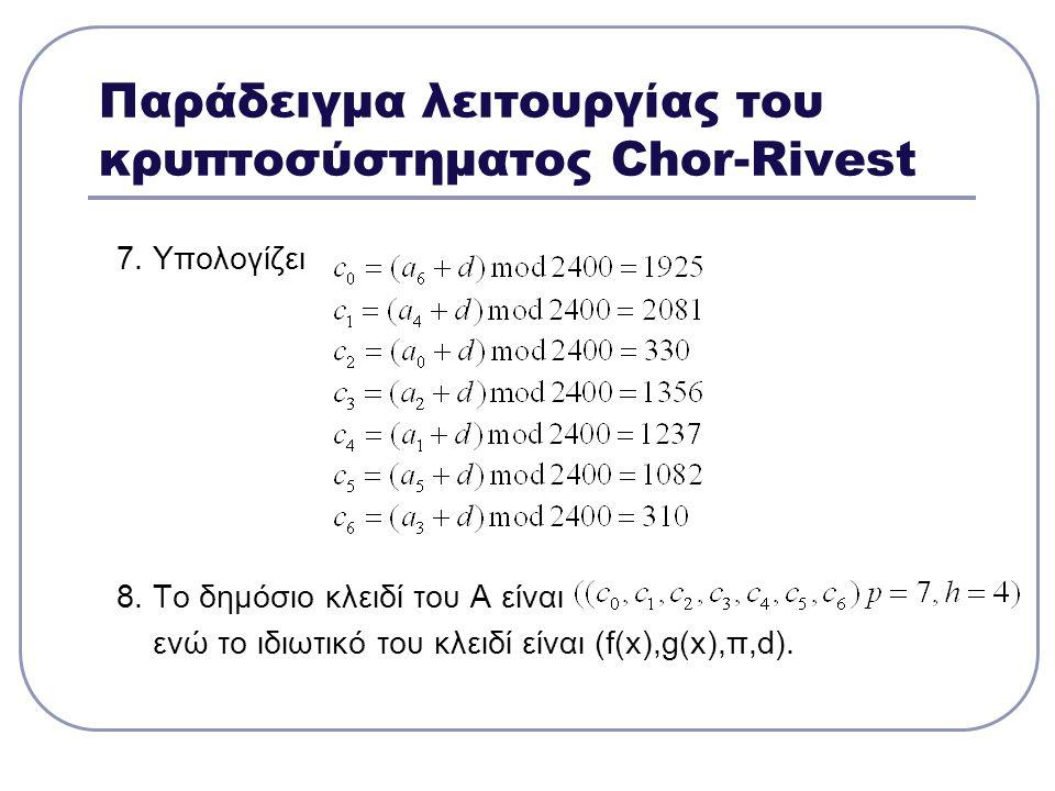 Παράδειγμα λειτουργίας του κρυπτοσύστηματος Chor-Rivest 7. Υπολογίζει 8. Το δημόσιο κλειδί του Α είναι ενώ το ιδιωτικό του κλειδί είναι (f(x),g(x),π,d