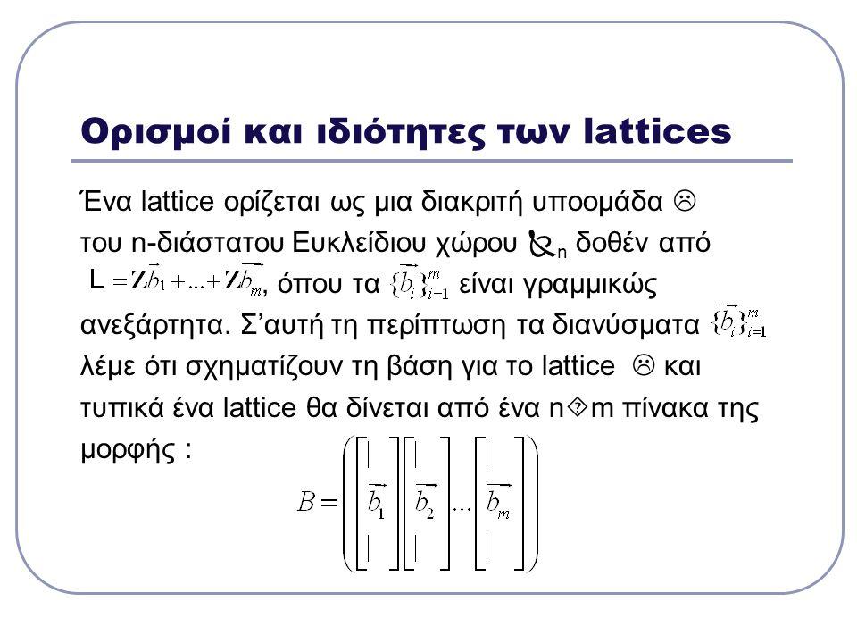 Ορισμοί και ιδιότητες των lattices Ένα lattice ορίζεται ως μια διακριτή υποομάδα  του n-διάστατου Ευκλείδιου χώρου  n δοθέν από, όπου τα είναι γραμμ