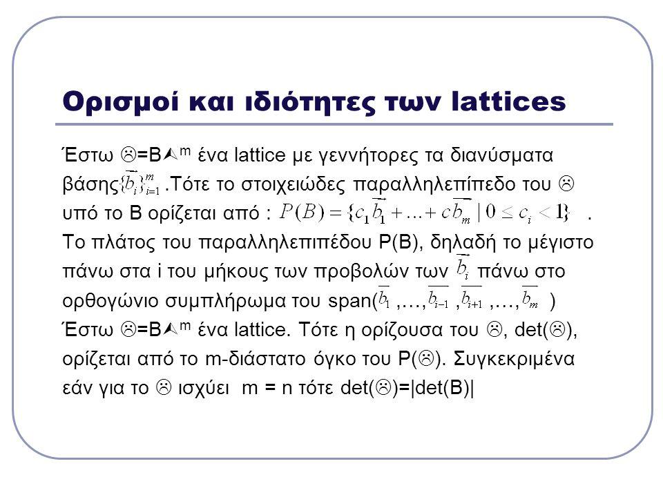 Ορισμοί και ιδιότητες των lattices Έστω  =Β  m ένα lattice με γεννήτορες τα διανύσματα βάσης.Τότε το στοιχειώδες παραλληλεπίπεδο του  υπό το Β ορίζ