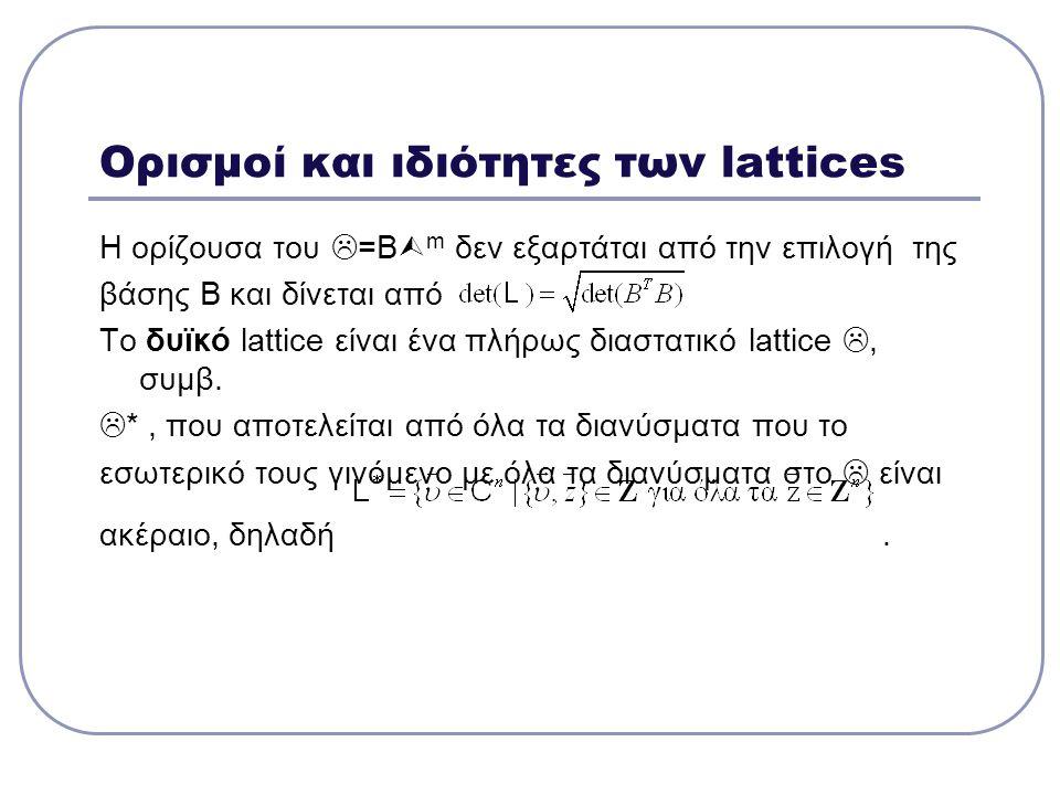 Ορισμοί και ιδιότητες των lattices Η ορίζουσα του  =Β  m δεν εξαρτάται από την επιλογή της βάσης Β και δίνεται από Το δυϊκό lattice είναι ένα πλήρως