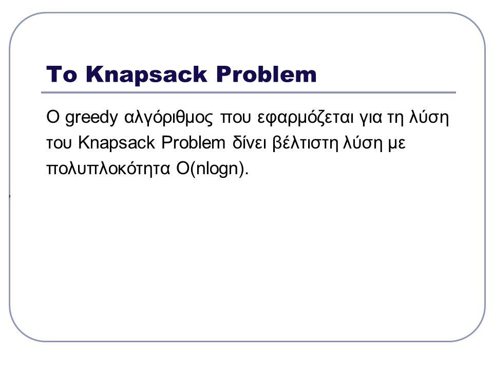 Το Discrete Knapsack Problem Δεδομένα: Ένα σακίδιο χωρητικότητας Μ n διακριτά αντικείμενα βάρους το καθένα w i και αξίας p i όπου U={u 1,u 2,…,u n } αντικείμενα με ακολουθία αποφάσεων αποφάσεων x 1,x 2,…,x n με x i  {0,1}, που αντιστοιχούν στα u 1,u 2,…,u n.