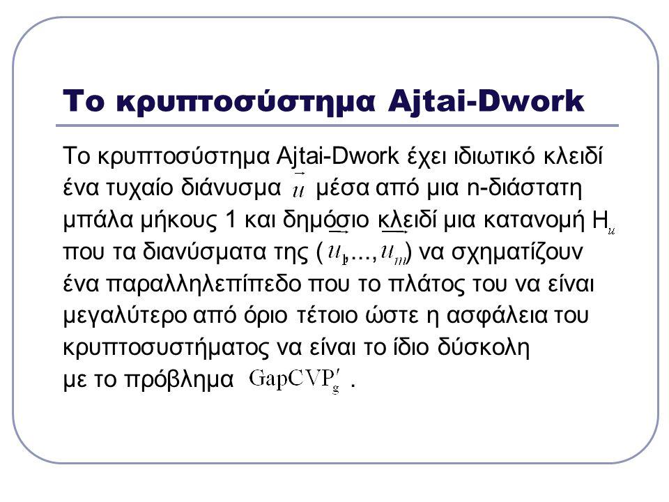 Το κρυπτοσύστημα Ajtai-Dwork Το κρυπτοσύστημα Ajtai-Dwork έχει ιδιωτικό κλειδί ένα τυχαίο διάνυσμα μέσα από μια n-διάστατη μπάλα μήκους 1 και δημόσιο