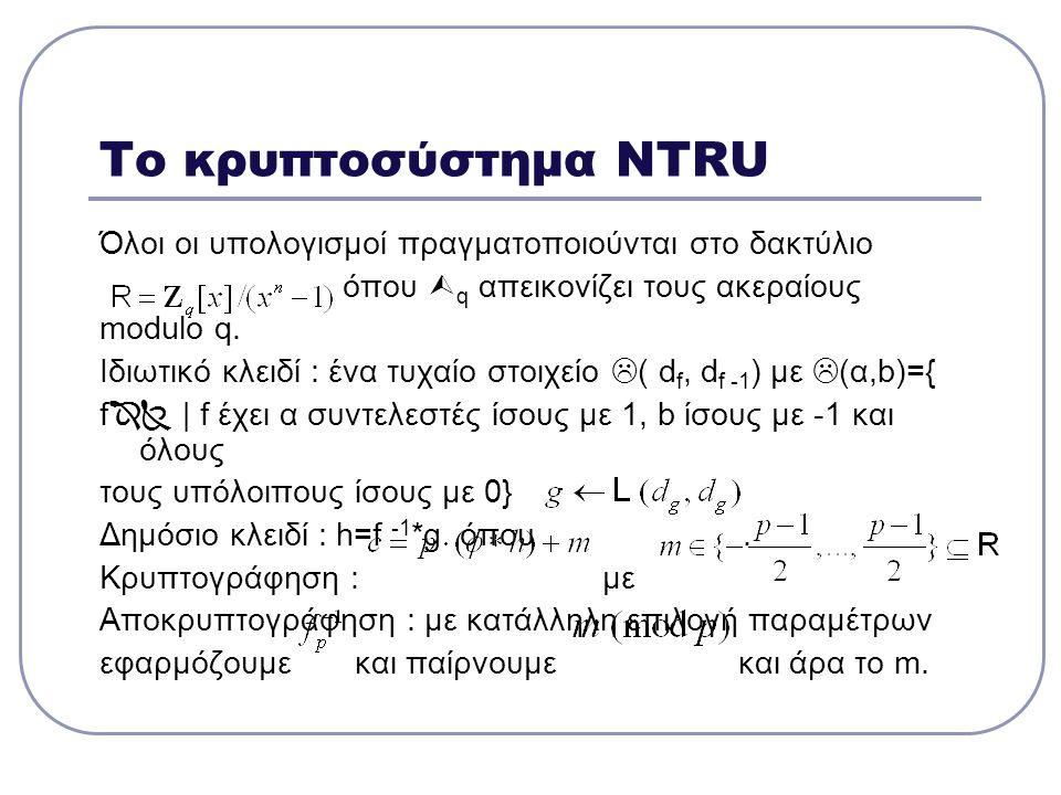 Το κρυπτοσύστημα NTRU Όλοι οι υπολογισμοί πραγματοποιούνται στο δακτύλιο όπου  q απεικονίζει τους ακεραίους modulo q. Ιδιωτικό κλειδί : ένα τυχαίο στ