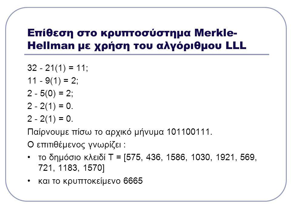 Επίθεση στο κρυπτοσύστημα Μerkle- Hellman με χρήση του αλγόριθμου LLL 32 - 21(1) = 11; 11 - 9(1) = 2; 2 - 5(0) = 2; 2 - 2(1) = 0. Παίρνουμε πίσω το αρ