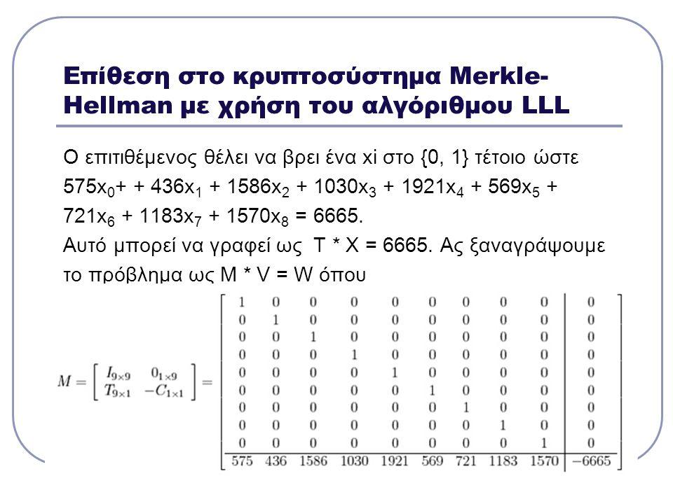 Επίθεση στο κρυπτοσύστημα Μerkle- Hellman με χρήση του αλγόριθμου LLL Ο επιτιθέμενος θέλει να βρει ένα xi στο {0, 1} τέτοιο ώστε 575x 0 + + 436x 1 + 1