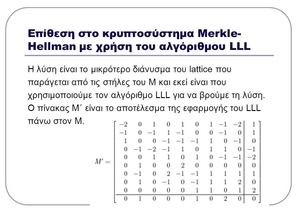 Επίθεση στο κρυπτοσύστημα Μerkle- Hellman με χρήση του αλγόριθμου LLL Η λύση είναι το μικρότερο διάνυσμα του lattice που παράγεται από τις στήλες του