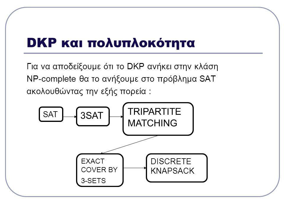 DKP και πολυπλοκότητα Για να αποδείξουμε ότι το DKP ανήκει στην κλάση NP-complete θα το ανήξουμε στο πρόβλημα SAT ακολουθώντας την εξής πορεία : SAT 3