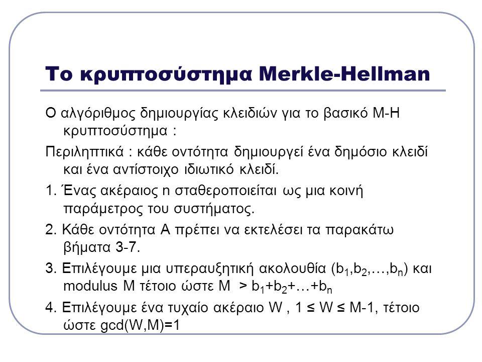 Το κρυπτοσύστημα Merkle-Hellman O αλγόριθμος δημιουργίας κλειδιών για τo βασικό M-H κρυπτοσύστημα : Περιληπτικά : κάθε οντότητα δημιουργεί ένα δημόσιο