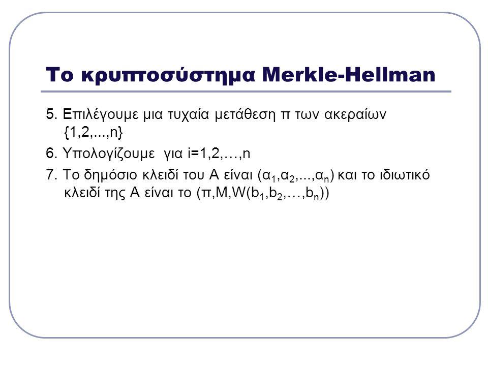Το κρυπτοσύστημα Merkle-Hellman 5. Επιλέγουμε μια τυχαία μετάθεση π των ακεραίων {1,2,...,n} 6. Υπολογίζουμε για i=1,2,…,n 7. Το δημόσιο κλειδί του Α