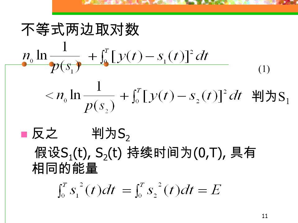 10 若 p(s 1 ) = p(s 2 ) 则 根据最大似然准则, 可以推出最佳接收机 结构 判为 s 1 判为 s 2 最大似然准则 判为 S 1 判为 S 2 判为 S 1 判为 S 2