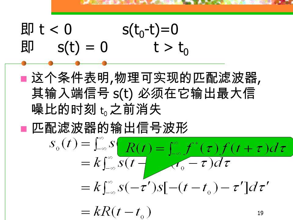 18 线性滤波器的最大输出信噪比为 此时 此即最佳线性滤波器的传输特性 按 (5) 设计的线性滤波器将能在给定时刻 t 0 上获得最大的输出信噪比 2E/n 0 匹配滤波器 h(t) = k s(t 0 -t) 为了获得物理可实现的匹配滤波器, 要求 t < 0 时 h(t) = 0 (5)