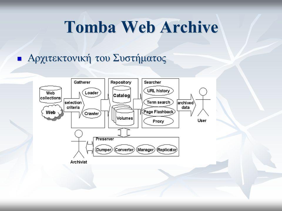 Tomba Web Archive Αρχιτεκτονική του Συστήματος Αρχιτεκτονική του Συστήματος