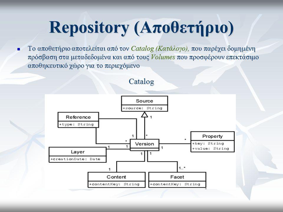 Repository (Αποθετήριο) Το αποθετήριο αποτελείται από τον Catalog (Κατάλογο), που παρέχει δομημένη πρόσβαση στα μεταδεδομένα και από τους Volumes που